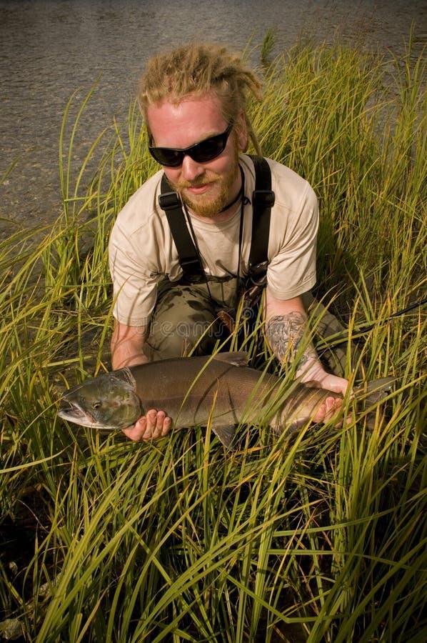 阿拉斯加捕鱼三文鱼 库存图片