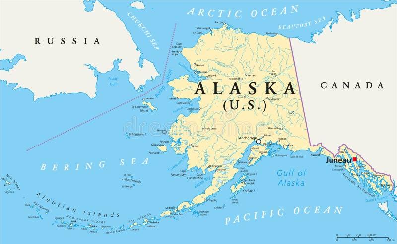 阿拉斯加政治地图 库存例证