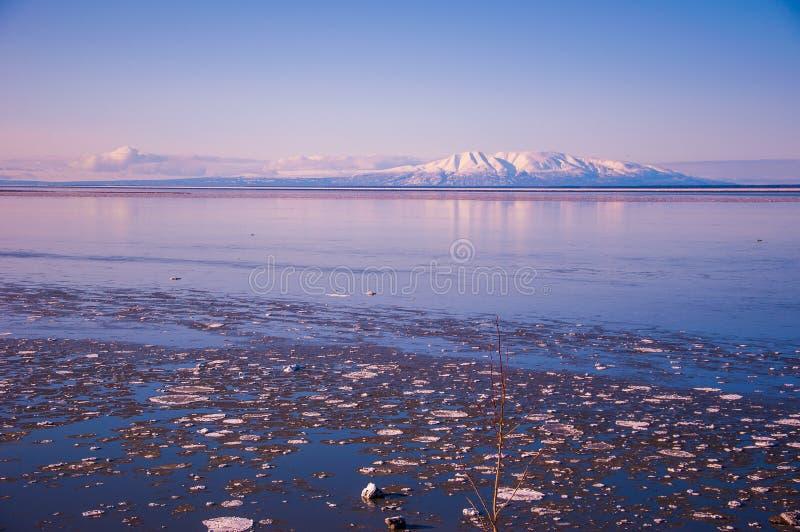 阿拉斯加火山睡觉夫人广角许多冰 库存图片