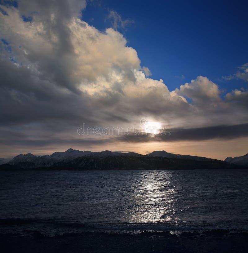 阿拉斯加的日落 免版税库存照片