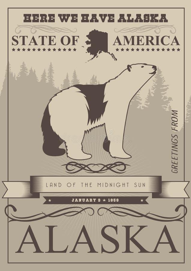 阿拉斯加美国旅行横幅 与北极熊的海报在葡萄酒样式 向量例证