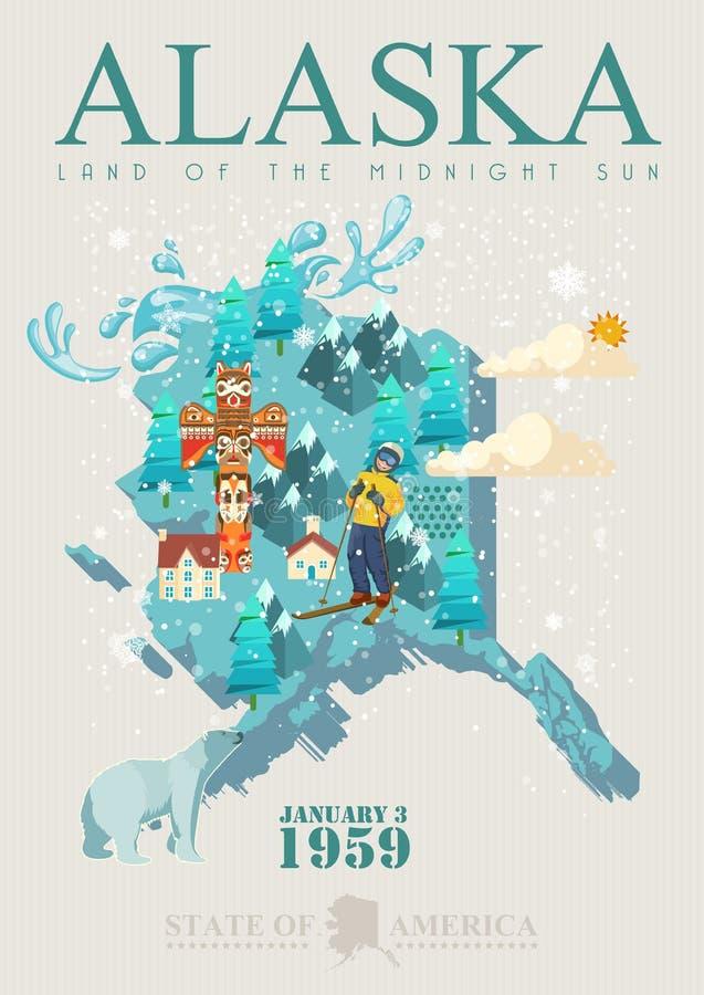 阿拉斯加美国旅行横幅 与地图的海报 库存例证