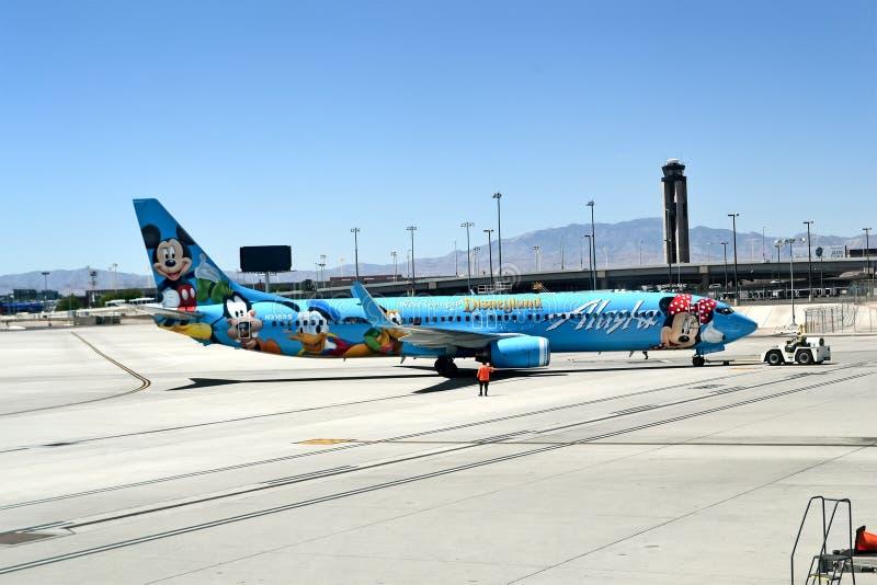 阿拉斯加航空公司在McCarran国际机场,拉斯维加斯,美国, 库存照片