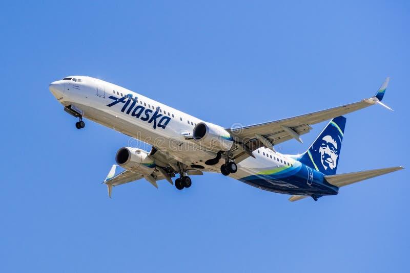 阿拉斯加航空公司航空器飞行 免版税库存照片