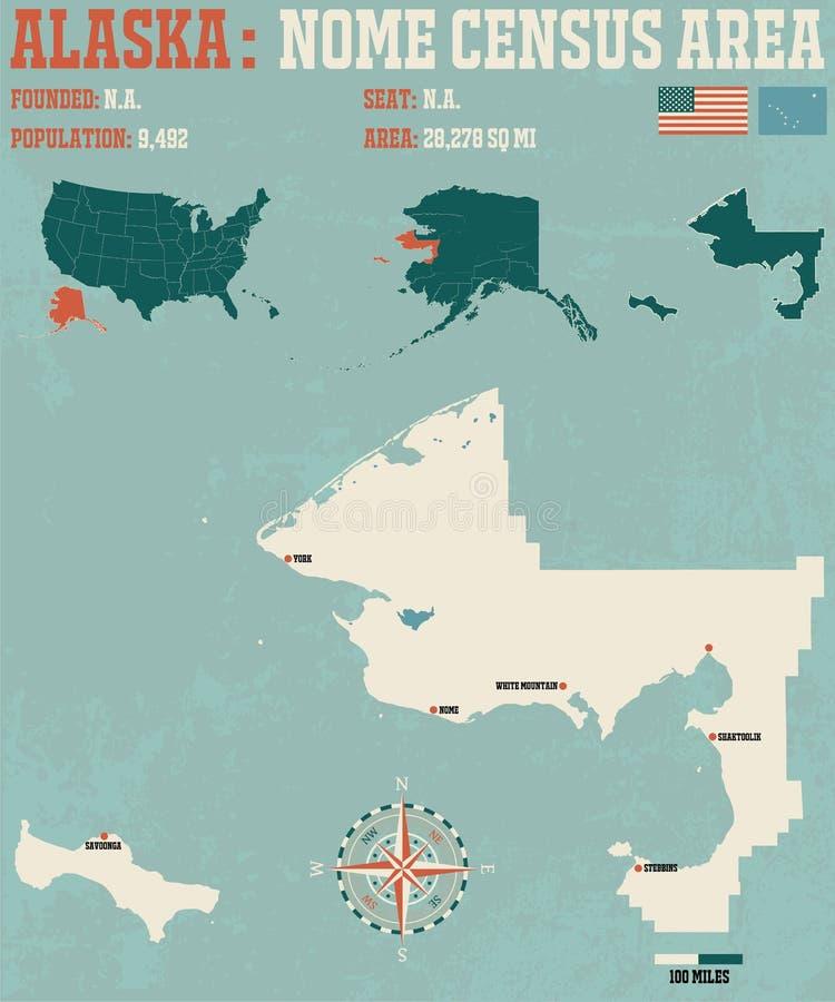 阿拉斯加:Nome人口调查地区 库存例证
