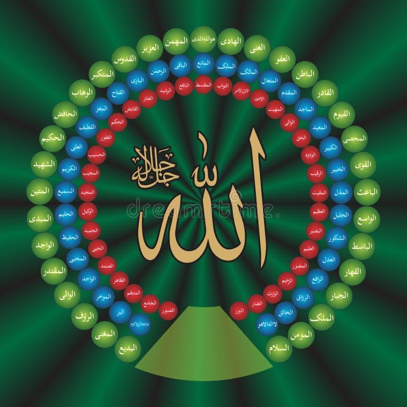 阿拉的伊斯兰教的书法墙纸海报99名字 库存例证