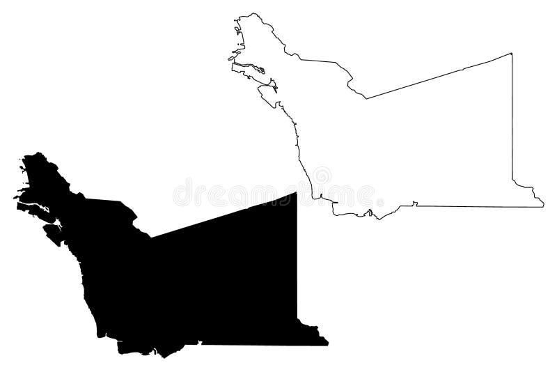 阿拉米达县,加利福尼亚地图传染媒介 皇族释放例证