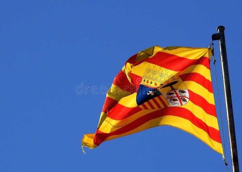 阿拉贡,西班牙旗子  免版税图库摄影