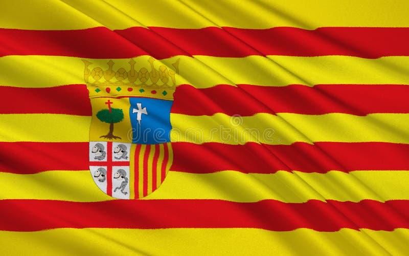 阿拉贡,西班牙旗子  库存例证
