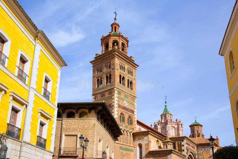阿拉贡特鲁埃尔省大教堂和Ayuntamiento城镇厅西班牙 库存照片