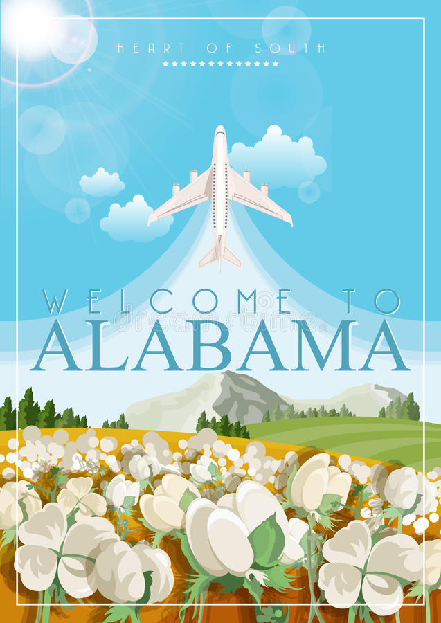 阿拉巴马美国旅行海报 棉花领域 库存例证