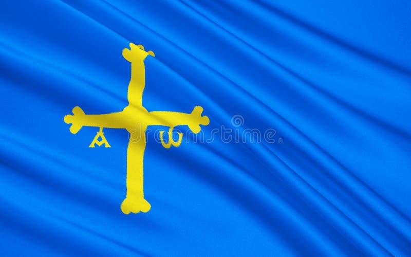阿斯图里亚斯,西班牙的旗子 库存图片