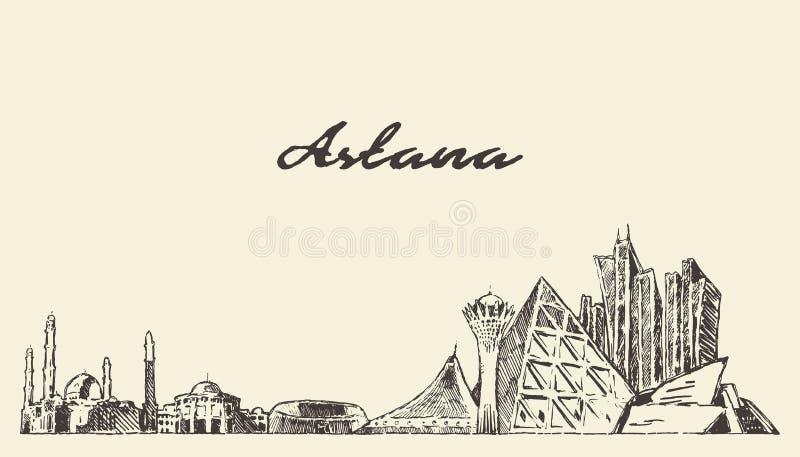 阿斯塔纳地平线哈萨克斯坦传染媒介城市拉长的剪影 库存例证