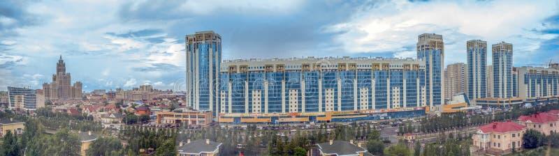 阿斯塔纳,哈萨克斯坦- 2016年7月1日:城市全景 库存照片
