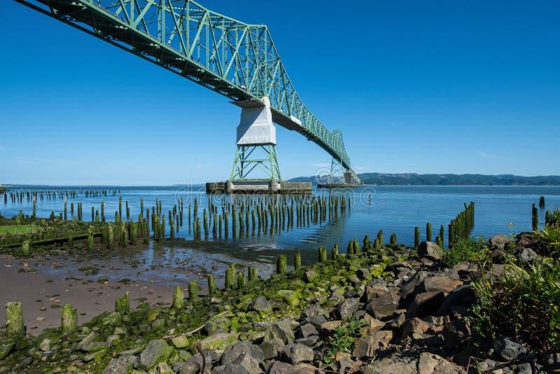 阿斯托利亚Megler桥梁,去在哥伦比亚河在俄勒冈 图库摄影