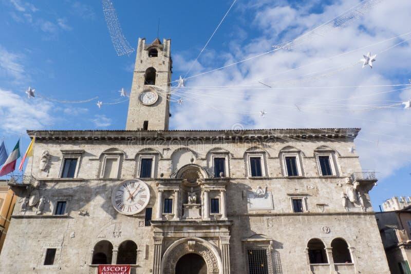 阿斯科利皮切诺中世纪镇在意大利 免版税库存照片