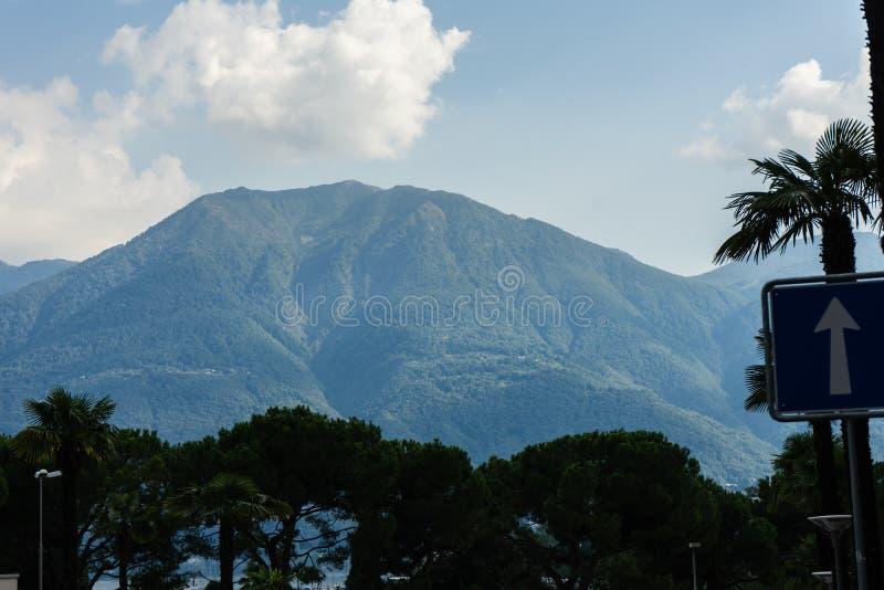阿斯科纳lago maggiore与多云天空和树的山景 免版税库存图片