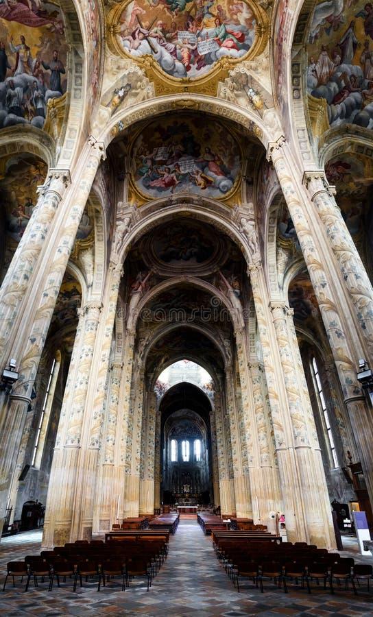阿斯蒂意大利,大教堂内部 库存照片