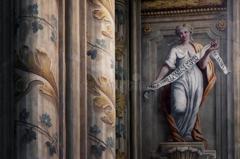 阿斯蒂意大利,大教堂内部 免版税库存图片