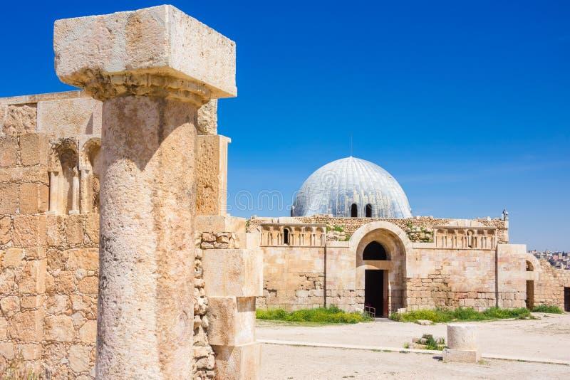 阿曼城堡的倭马亚宫殿,约旦 免版税图库摄影
