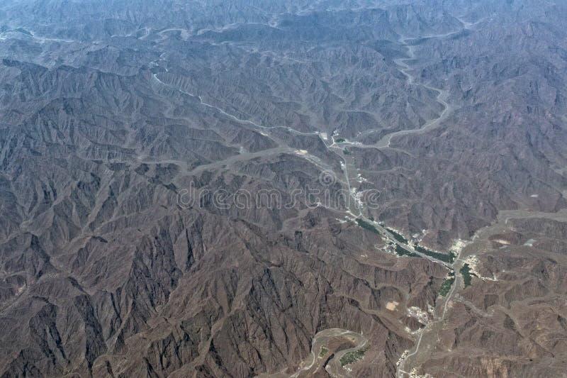 阿曼山鸟瞰图风景 库存照片