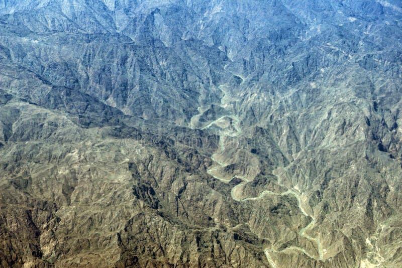 阿曼山鸟瞰图风景 库存图片