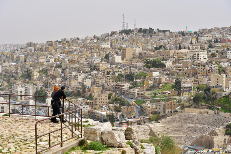阿曼,约旦都市风景  免版税库存照片