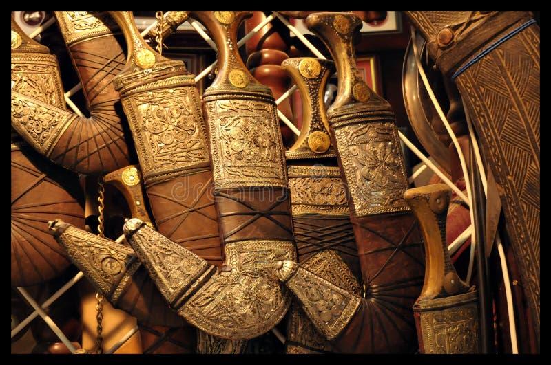 阿曼Khanjar是一把传统匕首 库存照片