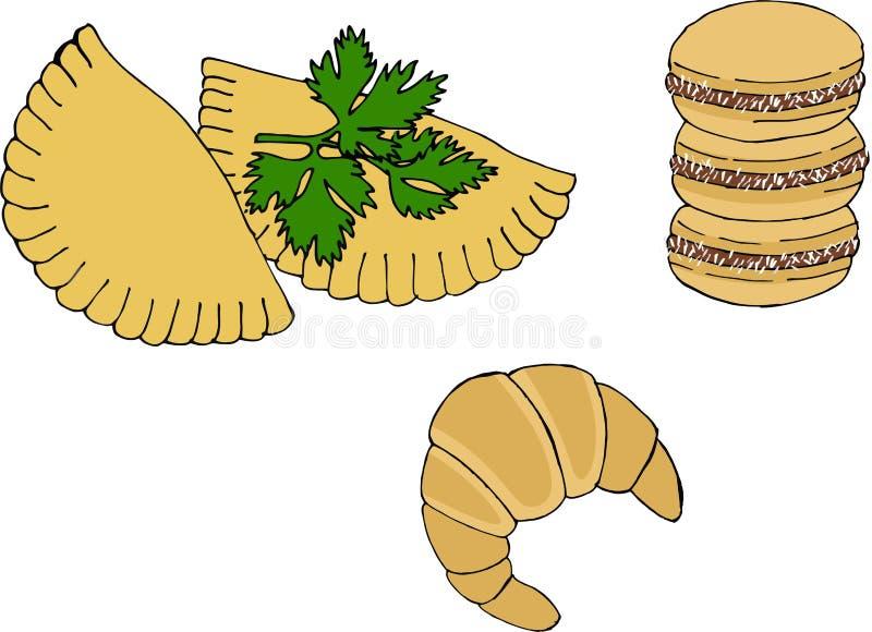 阿根廷全国烹调例如empanadas、alfajor曲奇饼和medialuna 皇族释放例证