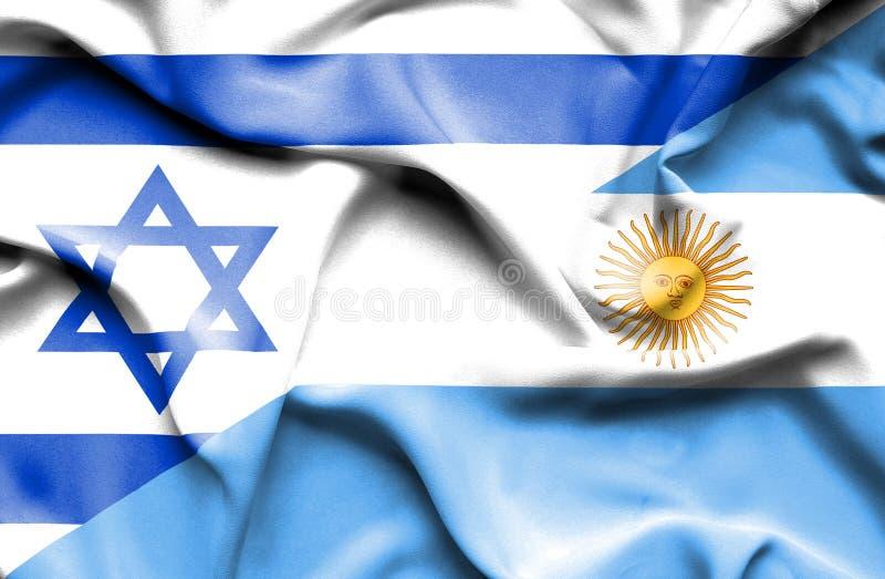 阿根廷和以色列的挥动的旗子 向量例证