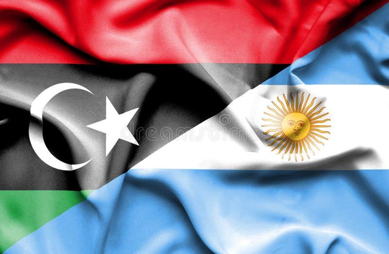 阿根廷和利比亚的挥动的旗子 库存例证