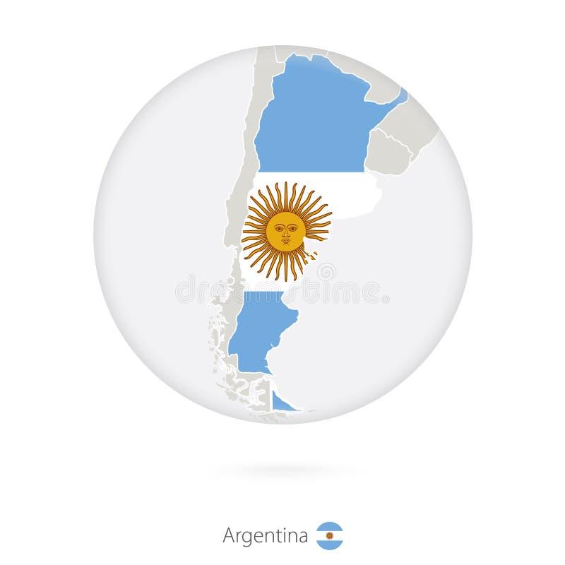 阿根廷和国旗地图在圈子 库存例证