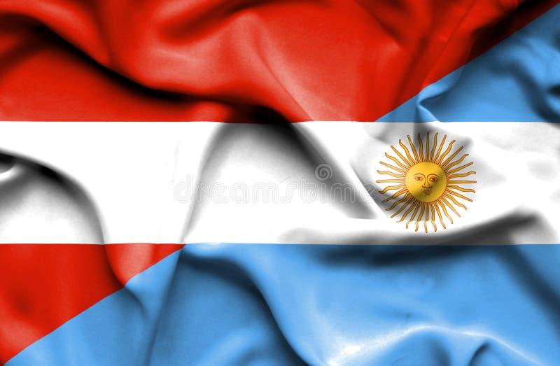阿根廷和奥地利的挥动的旗子 向量例证