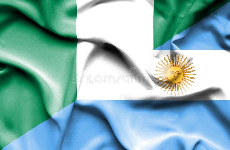 阿根廷和尼日利亚的挥动的旗子 向量例证
