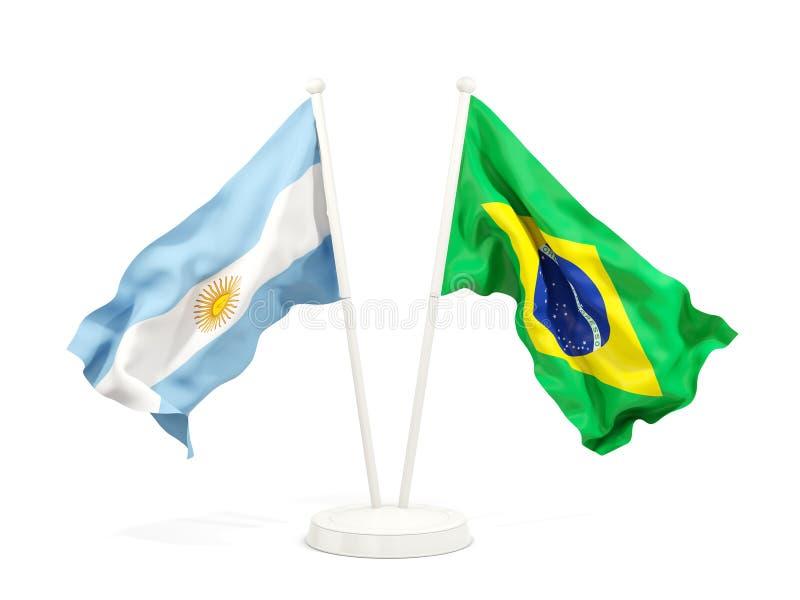 阿根廷和巴西的两面挥动的旗子 库存例证