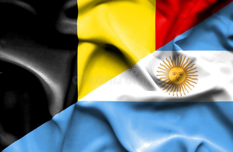 阿根廷和比利时的挥动的旗子 库存例证