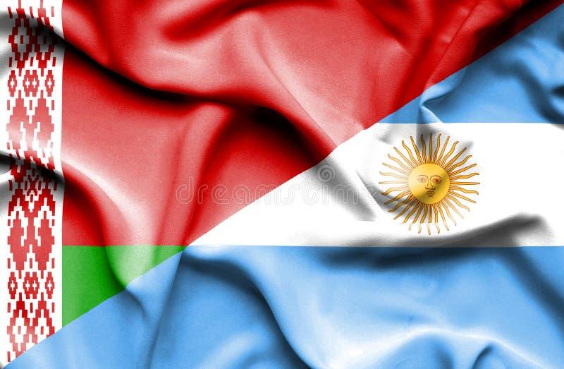 阿根廷和白俄罗斯的挥动的旗子 皇族释放例证