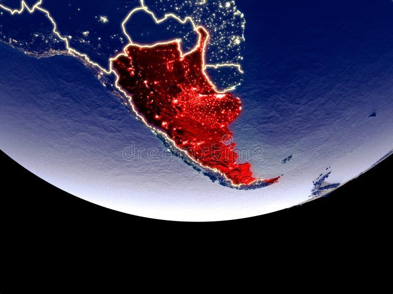 阿根廷在从空间的晚上 皇族释放例证