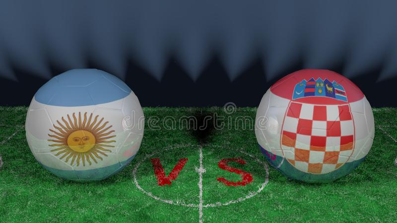 阿根廷对克罗地亚 2018年世界杯足球赛 原始的3D图象 库存例证