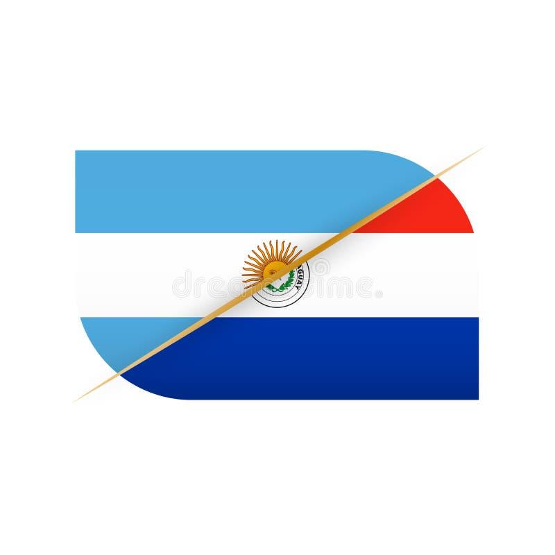 阿根廷对巴拉圭,体育竞赛的两面传染媒介旗子象 向量例证