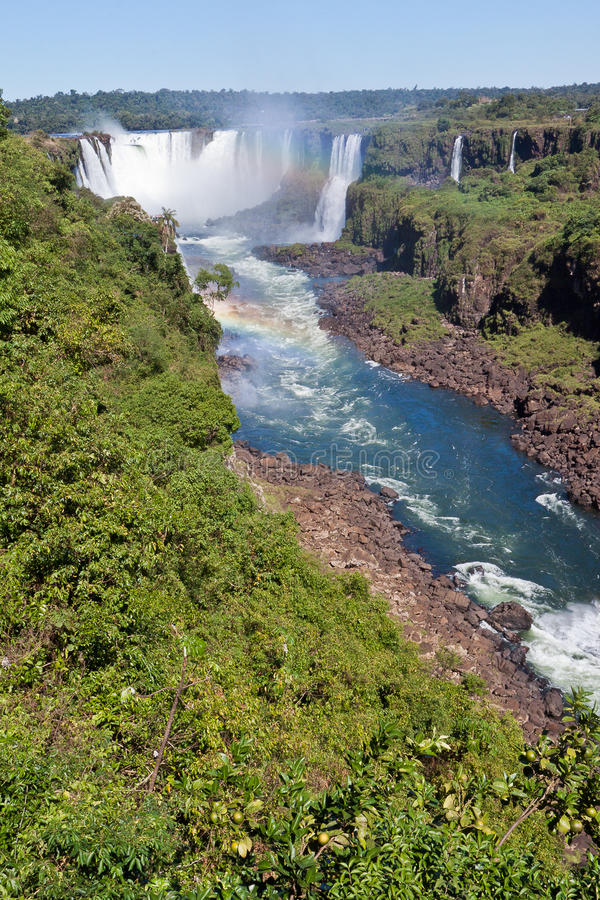 阿根廷巴西峡谷秋天iguassu 免版税库存照片