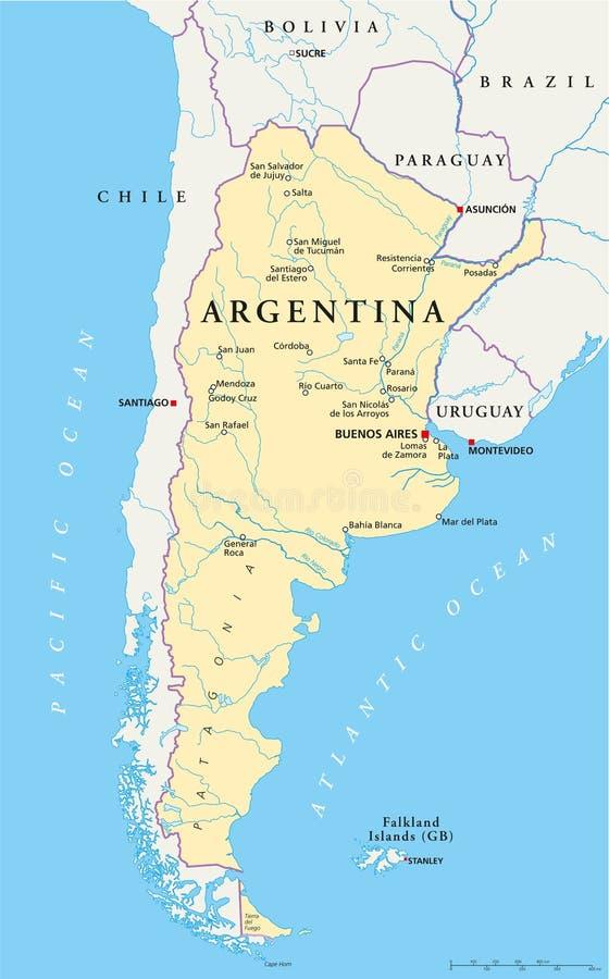 阿根廷政治地图 皇族释放例证