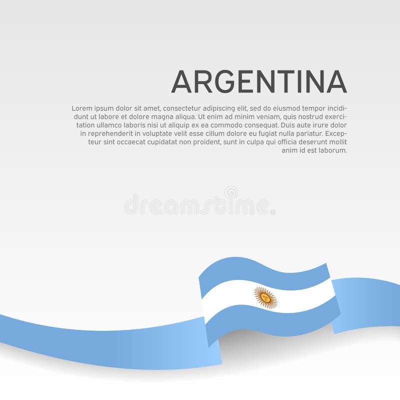 阿根廷旗子背景 全国海报 在白色背景的波浪丝带阿根廷旗子颜色 传染媒介横幅设计 皇族释放例证