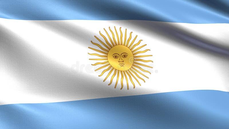 阿根廷旗子,与挥动的织品纹理 库存图片