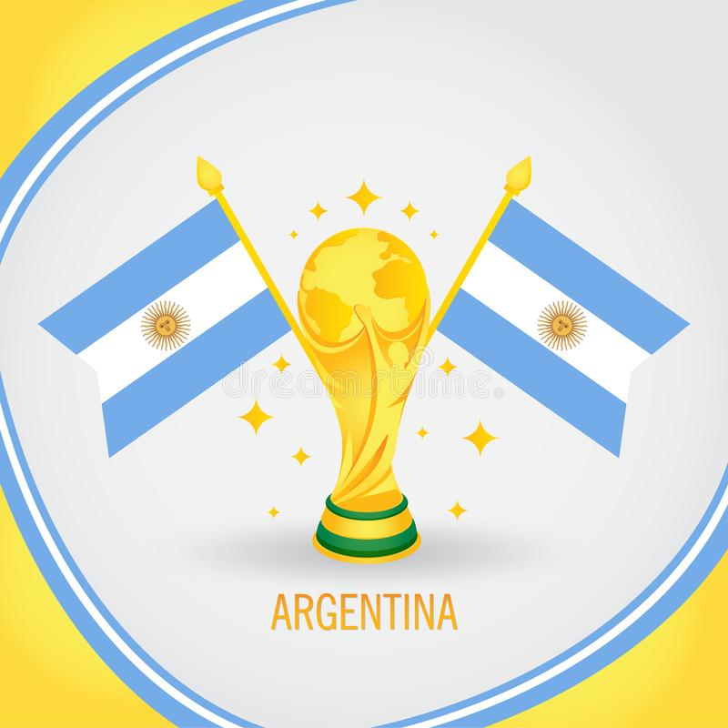 阿根廷橄榄球冠军世界杯2018年-旗子和金黄战利品 向量例证