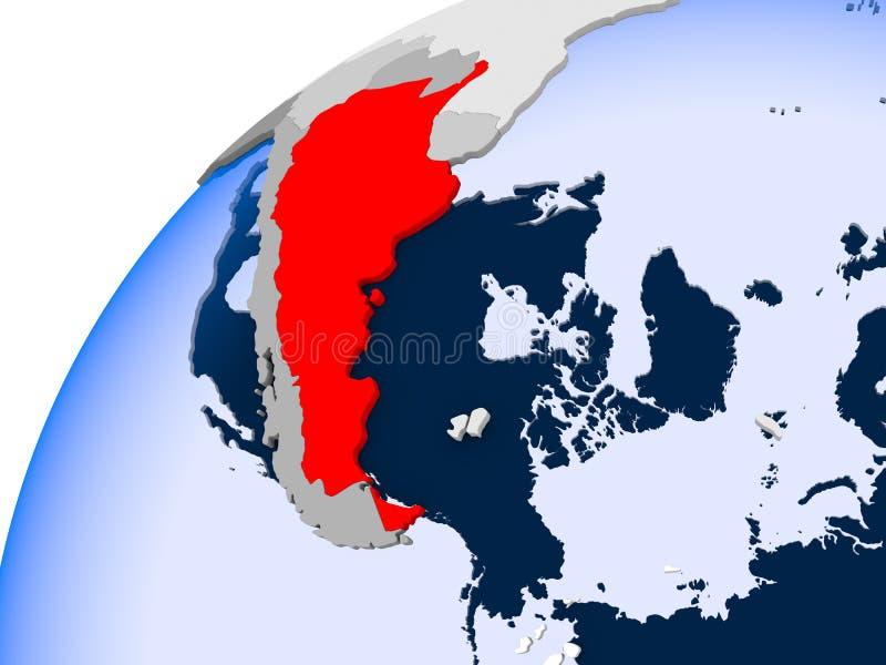 阿根廷的地图红色的 库存例证