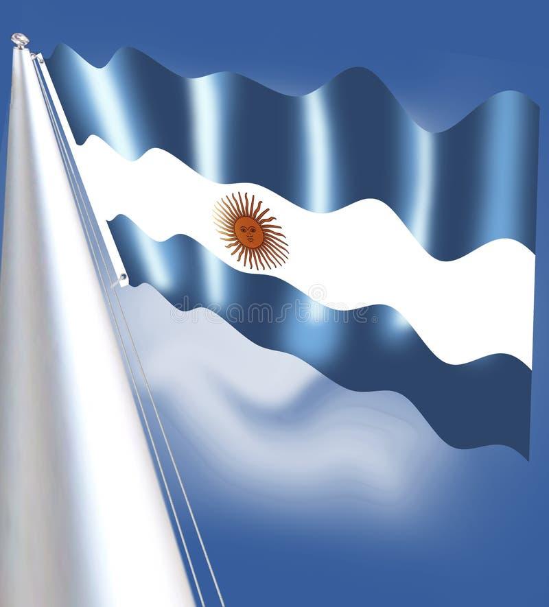 阿根廷的旗子是triband,组成由三条平等地宽水平的带色的浅蓝色和白色 有mu 向量例证
