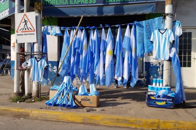 阿根廷足球队员的商品推销 免版税库存照片
