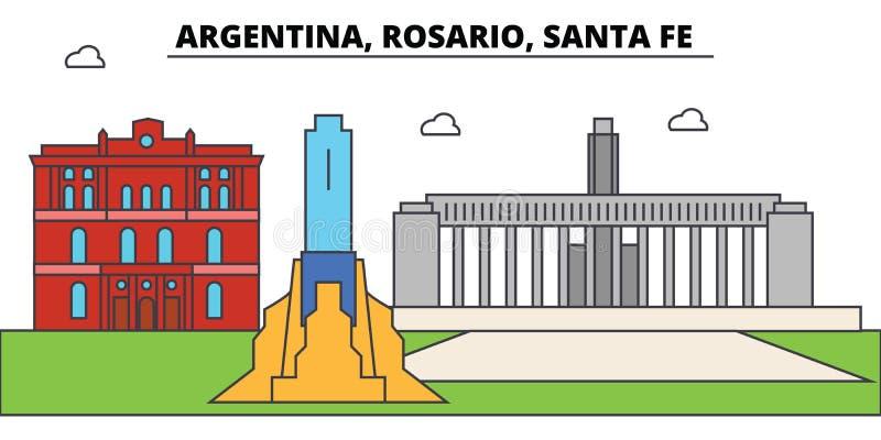 阿根廷,罗萨里奥圣菲概述城市地平线,线性例证 库存例证