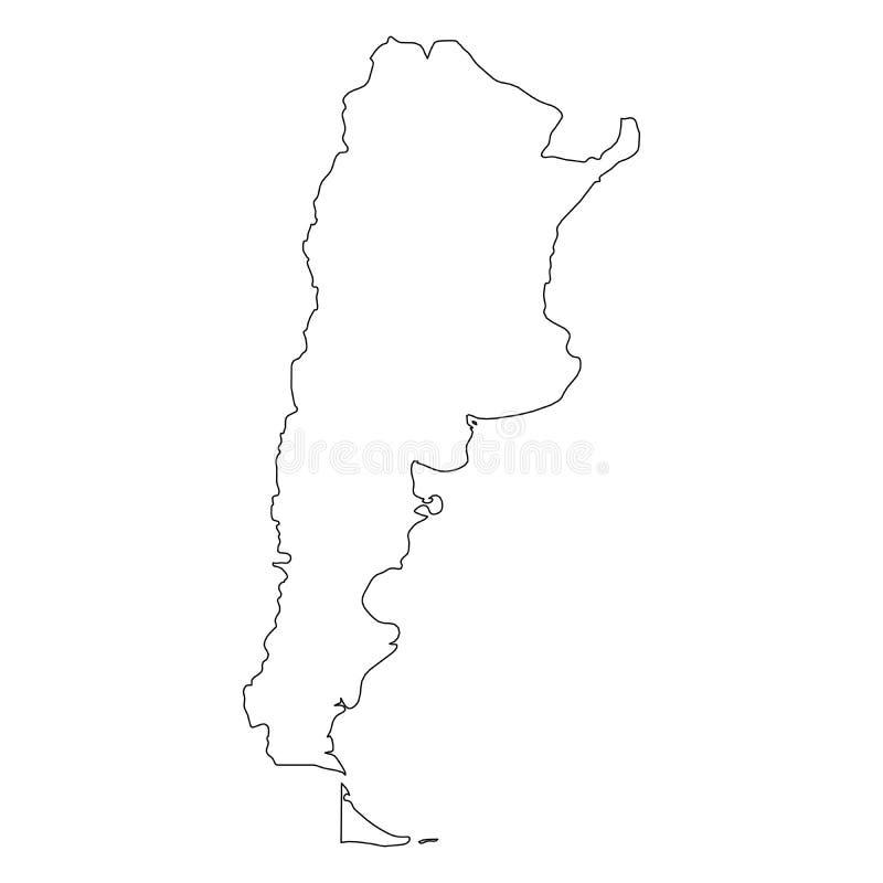 阿根廷-国家区域坚实黑概述边界地图  简单的平的传染媒介例证 库存例证